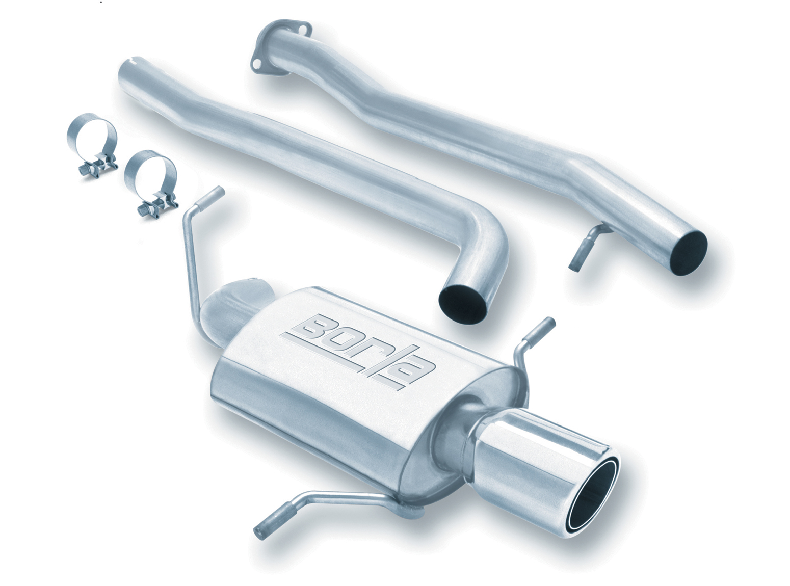 "Subaru Impreza  2002-2005 Borla 2.5"" Cat-Back Exhaust System - Single Round Half-Rolled Angle-Cut Phantom"
