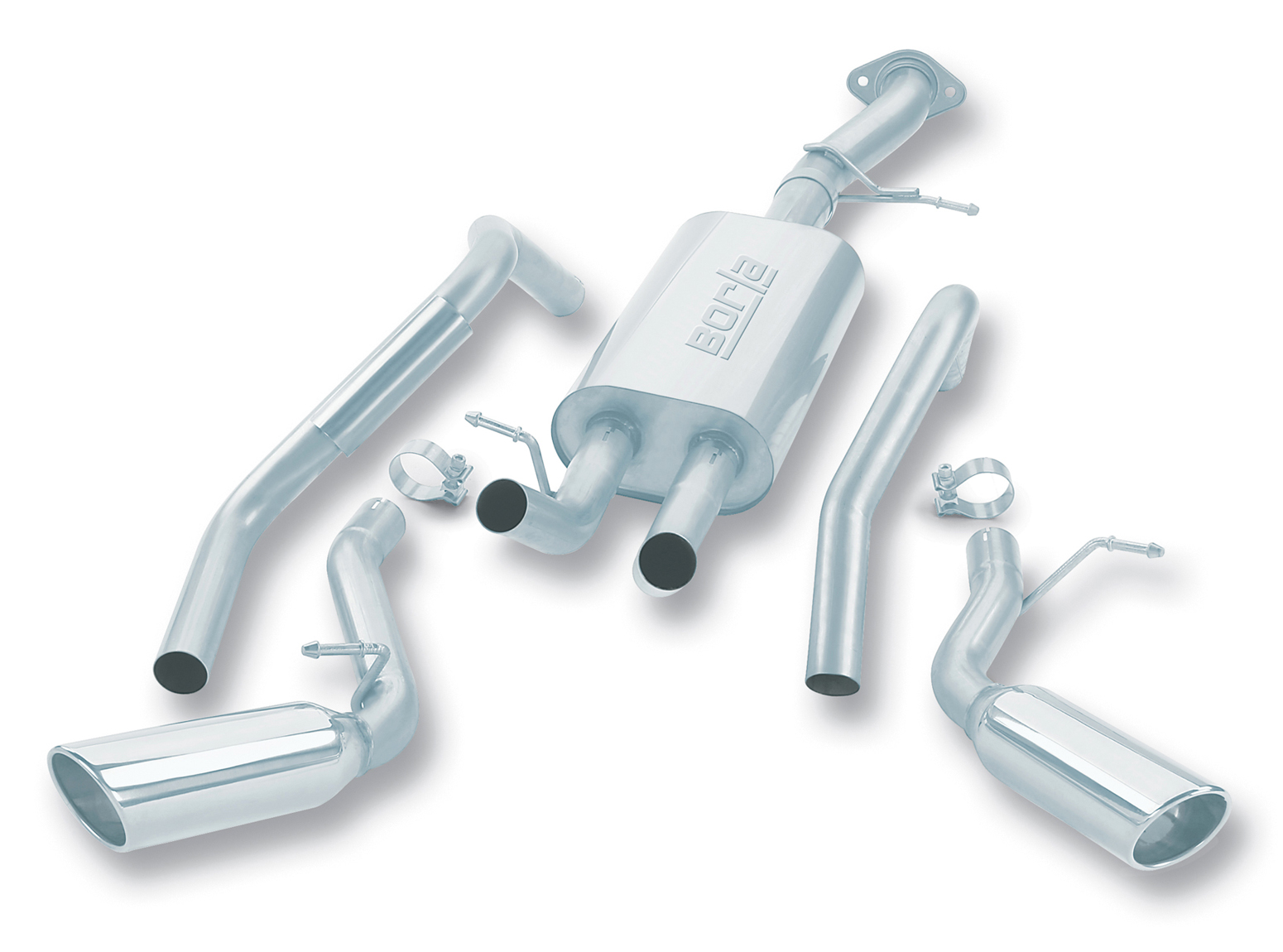 "Gmc Yukon  2001-2003 Borla 3"", 2.25"" Cat-Back Exhaust System - Single Round Rolled Angle-Cut Lined Resonated"