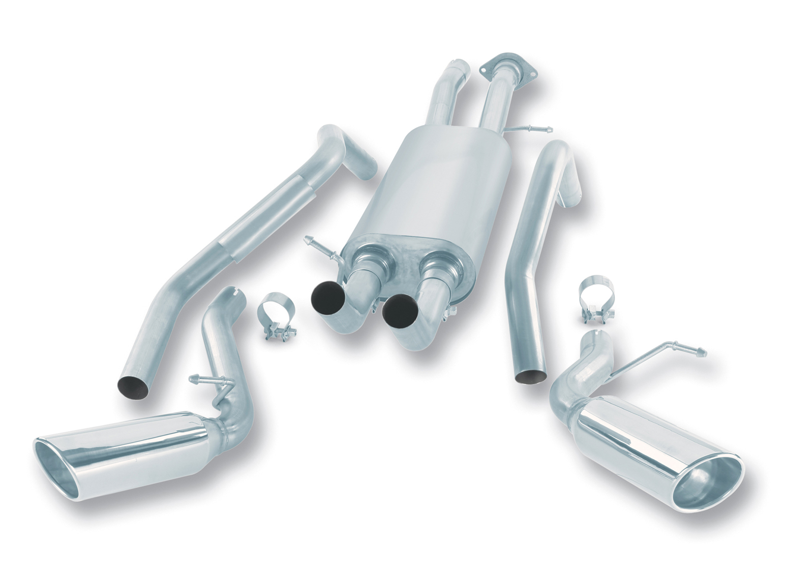 "Gmc Denali  2002-2004 Borla 2.5"", 2.25"" Cat-Back Exhaust System - Single Round Rolled Angle-Cut Lined Resonated"