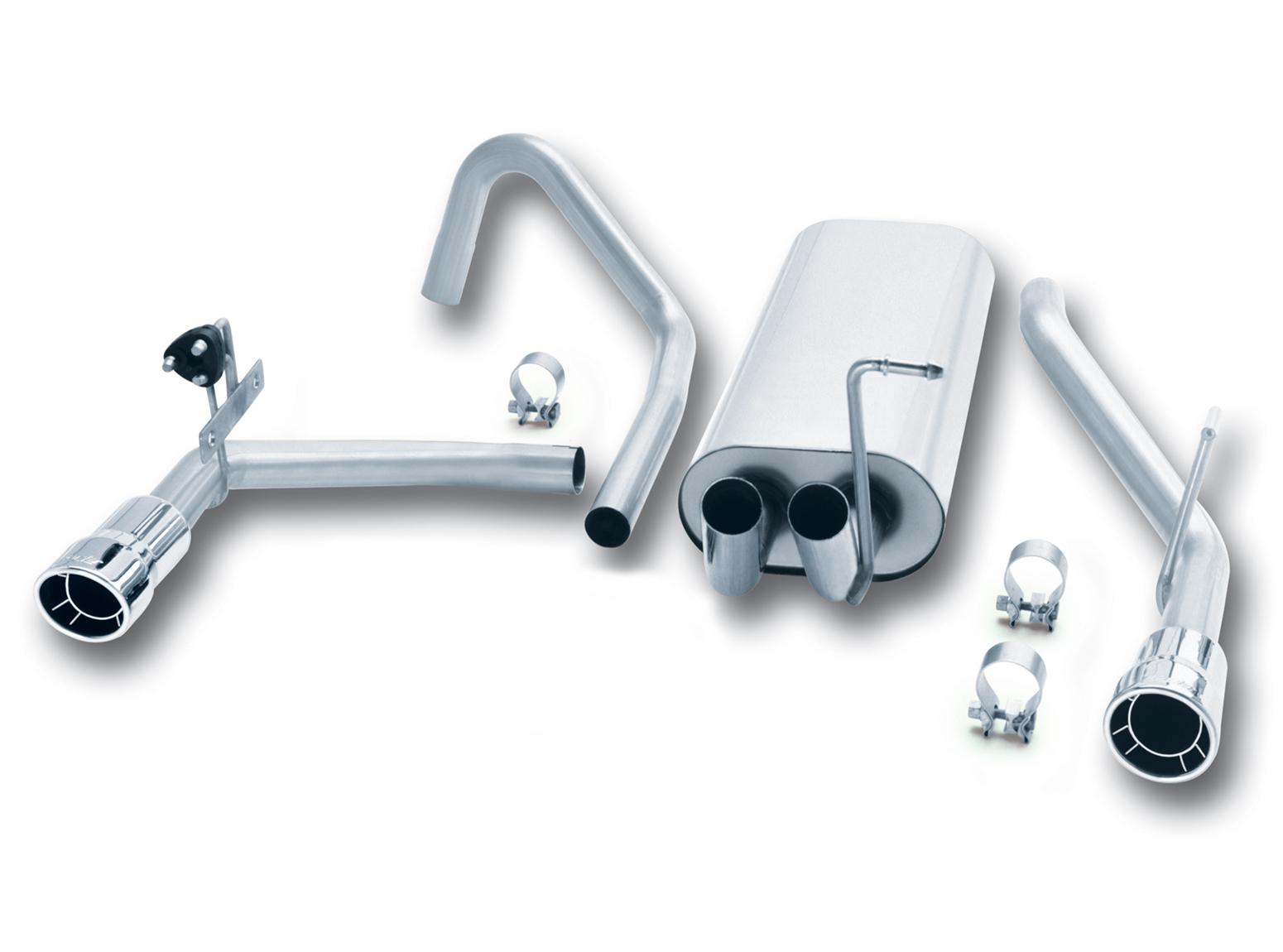 "Jeep Liberty 3.7l V6 2002-2005 Borla 3"", 2"" Cat-Back Exhaust System - Single Round Rolled Angle-Cut Intercooled Tips"