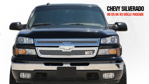 Chevrolet Silverado 2500hd/3500hd 2005-2006 - Rbp Rx Series Studded Frame Main Grille Chrome 2pc
