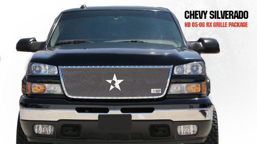 Chevrolet Silverado 2500hd/3500hd 2005-2006 - Rbp Rx Series Studded Frame Main Grille Chrome 1pc