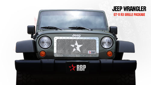 Jeep Wrangler  2007-2011 - Rbp Rx Series Studded Frame Main Grille Chrome 1pc