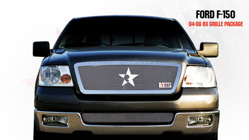 Ford F150 (except Harley Edition) 2004-2008 - Rbp Rx Series Studded Frame Main Grille Chrome 1pc