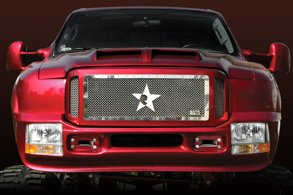 Ford Super Duty (except Harley Edition) 2005-2007 - Rbp Rx Series Studded Frame Main Grille Chrome 3pc