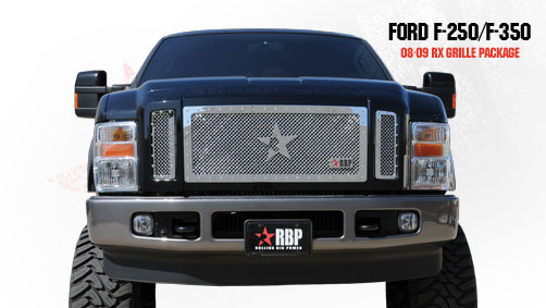 Ford Super Duty (except Harley Edition) 2008-2010 - Rbp Rx Series Studded Frame Main Grille Chrome 3pc