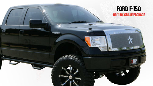 Ford F150 (except Harley Edition) 2009-2012 - Rbp Rx Series Studded Frame Main Grille Chrome 1pc