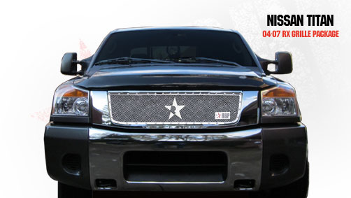 Nissan Titan  2004-2009 - Rbp Rx Series Studded Frame Main Grille Chrome 1pc