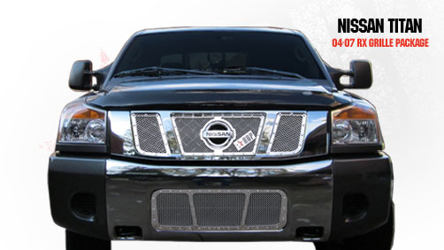 Nissan Titan  2004-2007 - Rbp Rx Series Studded Frame Main Grille Chrome 3pc