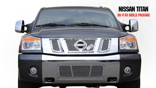 Nissan Titan  2008-2011 - Rbp Rx Series Studded Frame Main Grille Chrome 3pc
