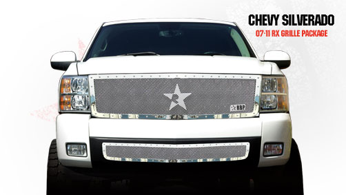 Chevrolet Silverado 1500 2007-2011 - Rbp Rx Series Studded Frame Bumper Grille Chrome