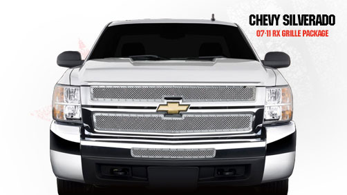 Chevrolet Silverado 2500hd/3500hd 2007-2010 - Rbp Rx Series Studded Frame Bumper Grille Chrome 2pc