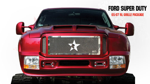 Ford Super Duty (except Harley Edition) 2005-2007 - Rbp Rl Series Plain Frame Main Grille Chrome 3pc