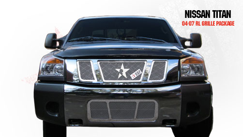 Nissan Titan  2004-2007 - Rbp Rl Series Plain Frame Main Grille Chrome 3pc