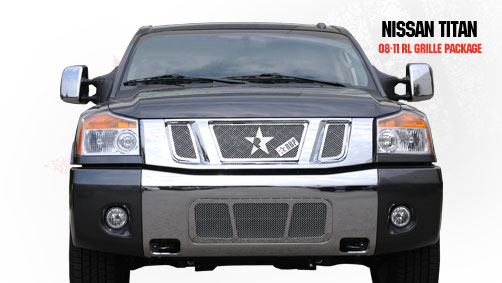 Nissan Titan  2008-2011 - Rbp Rl Series Plain Frame Main Grille Chrome 3pc