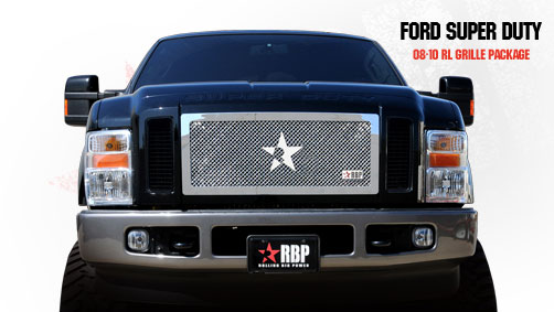Ford Super Duty (except Harley Edition) 2008-2010 - Rbp Rl Series Center Section - Mesh Bumper Grille Chrome