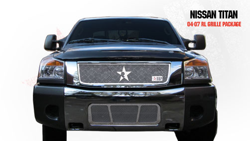 Nissan Titan  2004-2009 - Rbp Rl Series Plain Frame Bumper Grille Chrome 