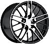 Chevrolet Corvette 1997-2012 17x8.5 5x4.75 +56 2009 Zr1 Style Wheel - Black Machine Face With Cap