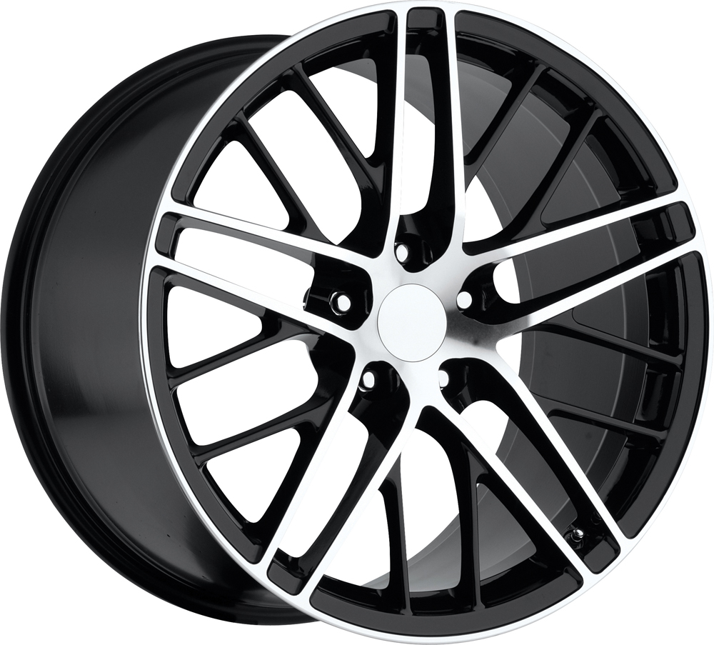 Chevrolet Corvette 1997-2012 17x8.5 5x4.75 +56 2009 Zr1 Style Wheel - Black Machine Face With Cap