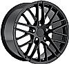 Chevrolet Corvette 1997-2012 18x9.5 5x4.75 +57 2009 Zr1 Style Wheel - Gloss Black With Cap