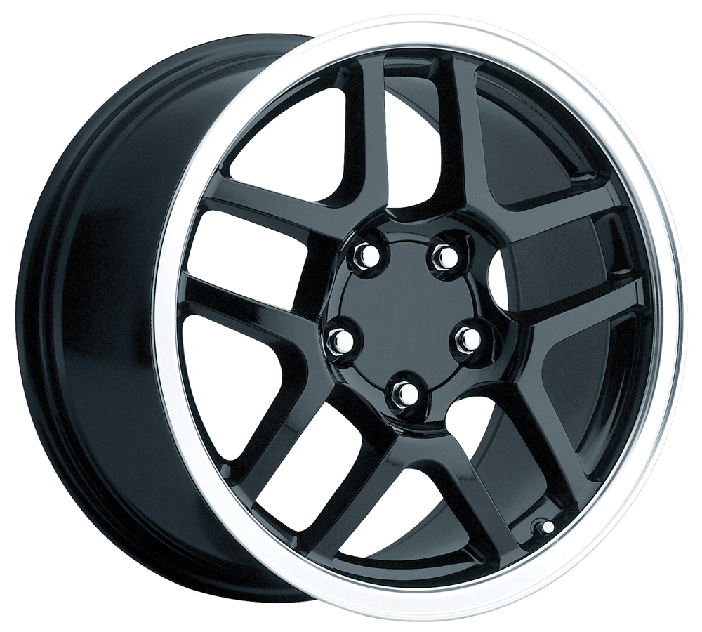 Chevrolet Corvette 1997-2004 17x8.5 5x4.75 +56 -C5 Z06 Style Wheel - Black Machine Lip With Cap