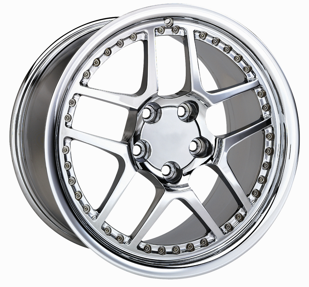 Chevrolet Corvette 1997-2004 17x8.5 5x4.75 +56 -C5 Z06 Style Wheel - Motorsport Chrome With Cap