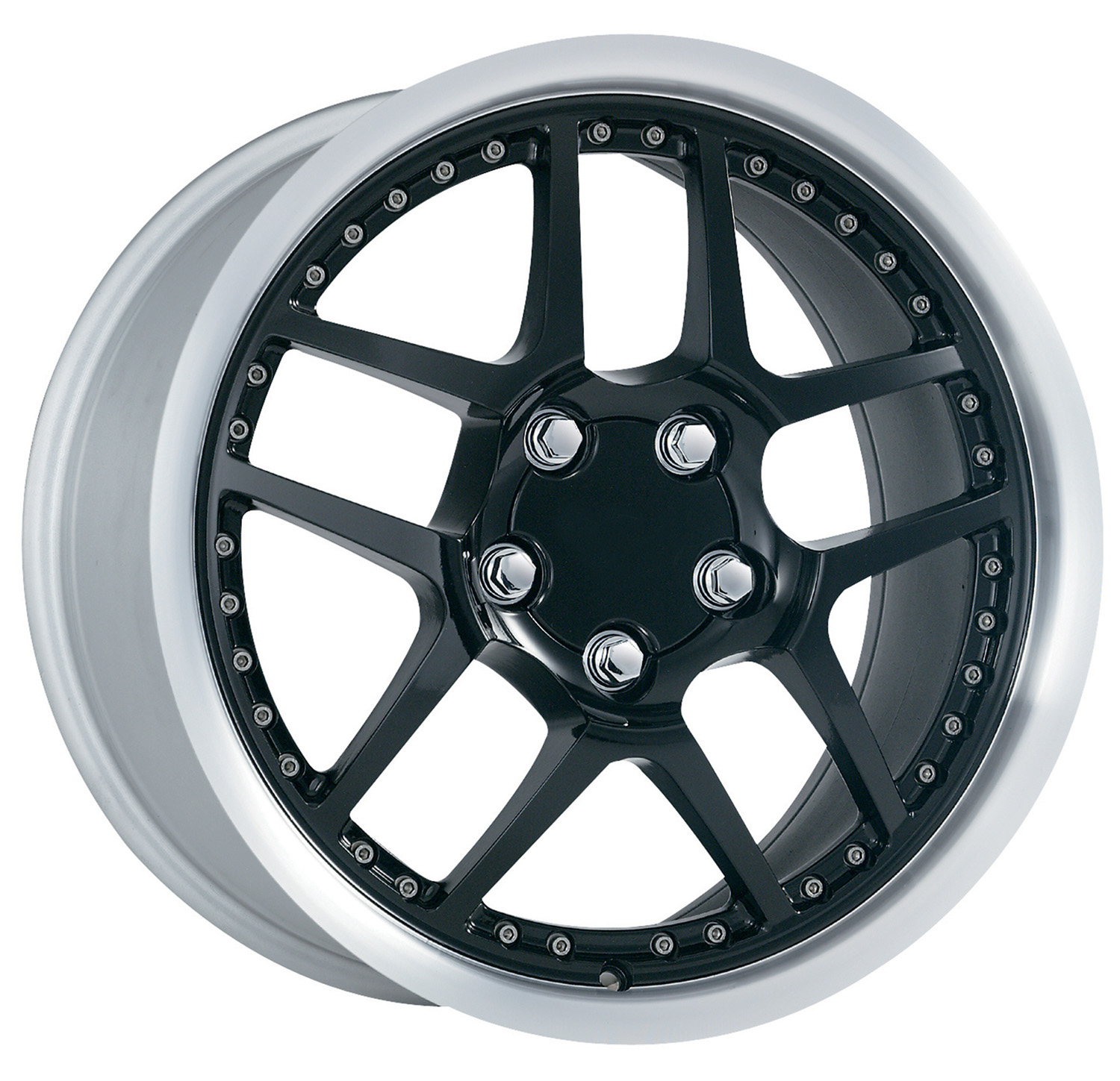 Chevrolet Corvette 1997-2004 17x8.5 5x4.75 +56 -C5 Z06 Style Wheel - Motorsport Black Machine Lip With Cap