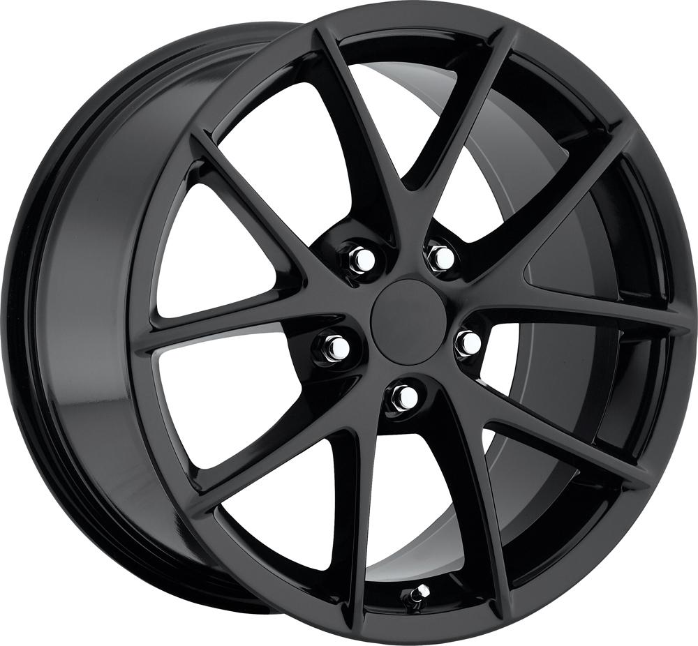Chevrolet Corvette 1997-2012 17x8.5 5x4.75 +56 - 2009 Z06 Style Wheel -  Gloss Black With Cap