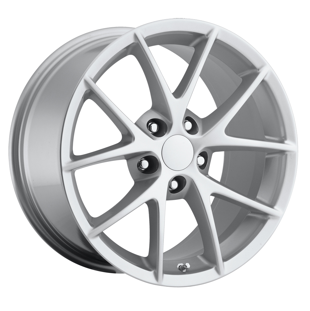 Chevrolet Corvette 1997-2012 18x9.5 5x4.75 +40 - 2009 Z06 Style Wheel -  Silver With Cap