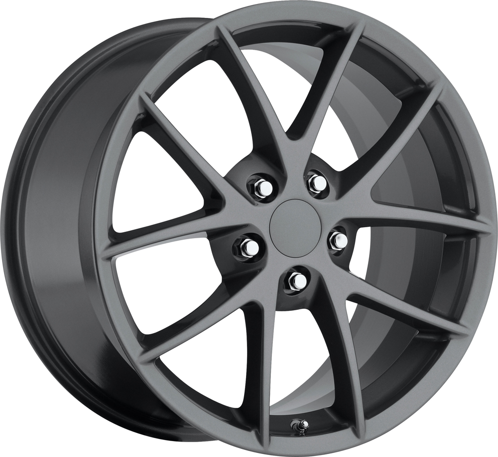 Chevrolet Corvette 1997-2012 18x9.5 5x4.75 +40 - 2009 Z06 Style Wheel -  Grey With Cap