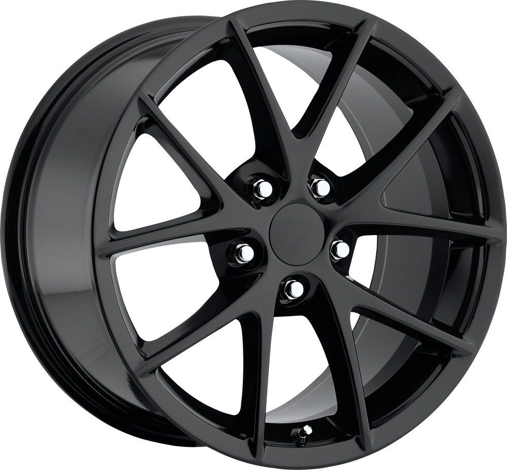 Chevrolet Corvette 1997-2012 18x9.5 5x4.75 +57 - 2009 Z06 Style Wheel -  Gloss Black With Cap