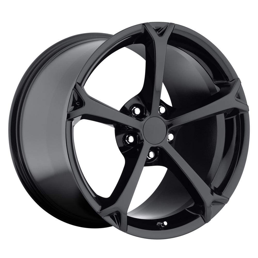 Chevrolet Corvette 1997-2012 18x8.5 5x4.75 +56 - Grand Sport Style Wheel - Gloss Black With Cap