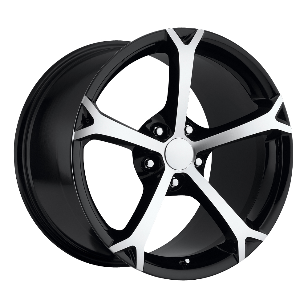 Chevrolet Corvette 1997-2012 19x10 5x4.75 +56 - Grand Sport Style Wheel - Black Machine Face With Cap 