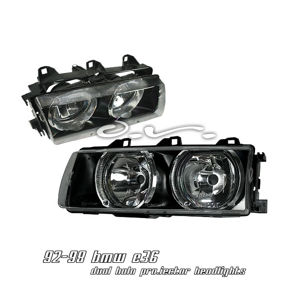 Bmw 3 Series 1992-1998  Black W/ Halo Euro Crystal Headlights