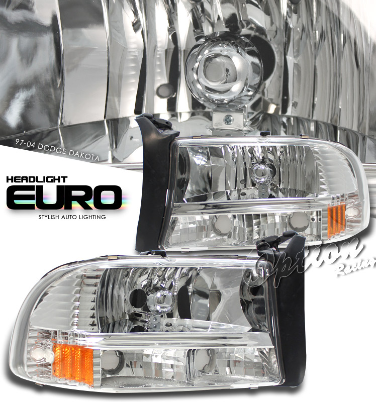 Dodge Dakota 1997-2004  Chrome/amber 1pc Style Euro Crystal Headlights