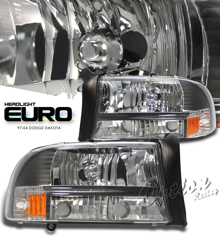 Dodge Dakota 1997-2004  Black/amber 1pc Style Euro Crystal Headlights