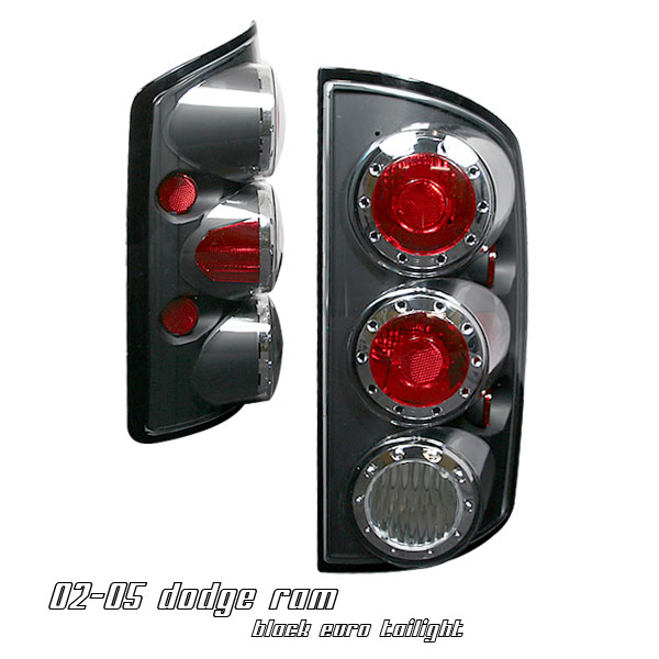 Dodge Ram 2002-2005  Black Euro Tail Lights