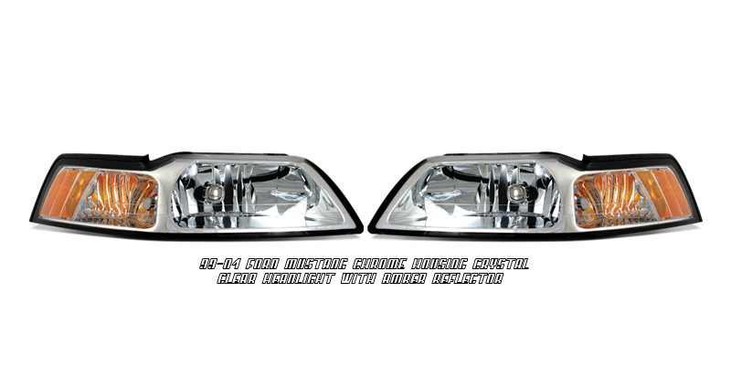 Ford Mustang 1999-2004  Chrome/amber Euro Crystal Headlights