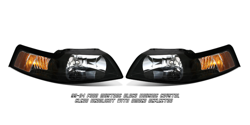 Ford Mustang 1999-2004  Black/amber Euro Crystal Headlights