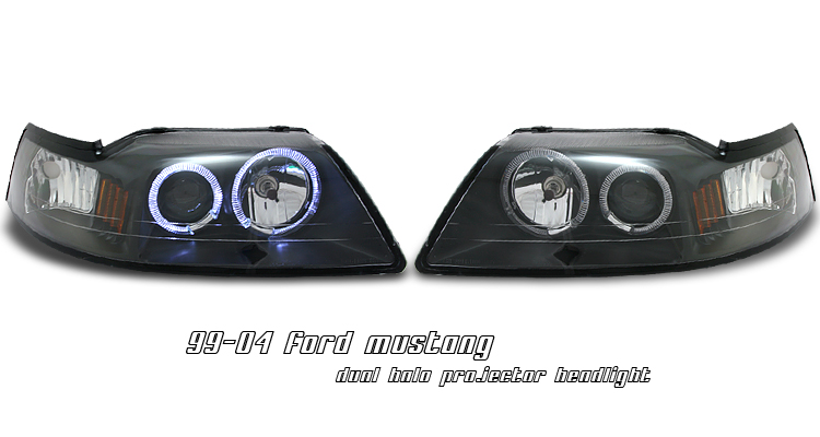 Ford Mustang 1999-2004  Black W/halo Projector Headlights