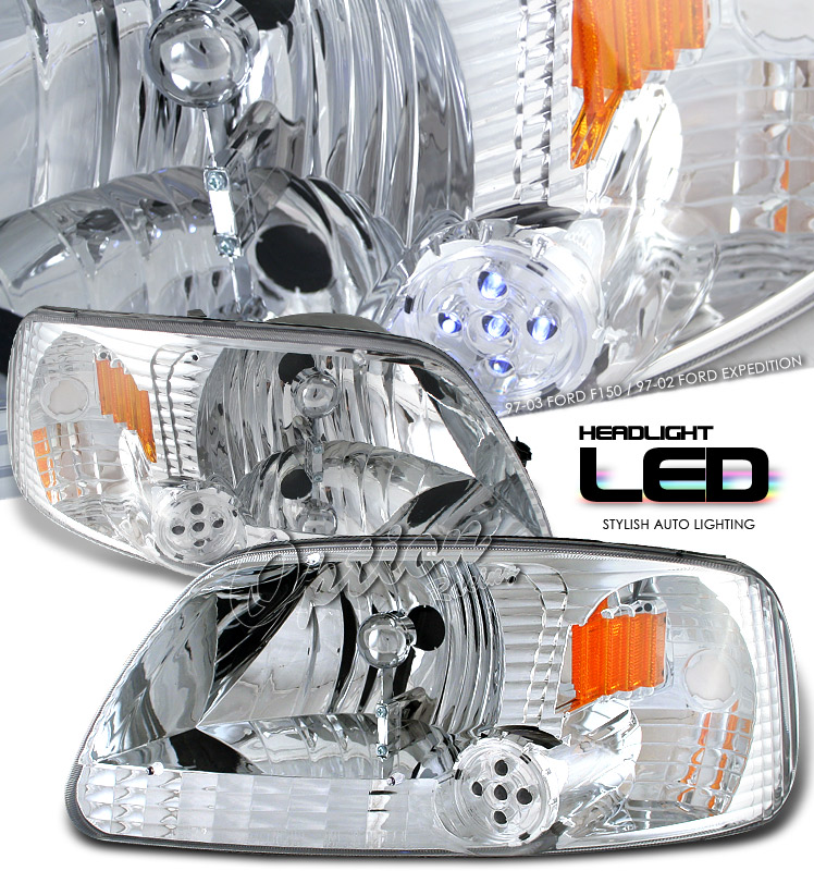 Ford Expedition 1997-2002  Chrome/amber 1pc W/led Euro Crystal Headlights