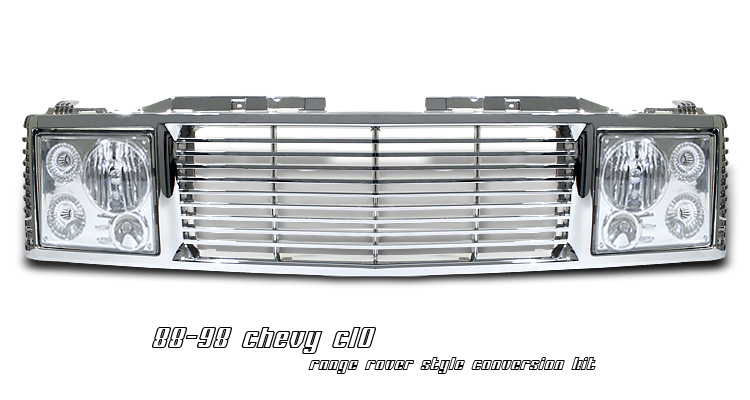 Chevrolet Silverado 1988-1998 Range Rover Style Grill/Headlight Conversion Kit (Chrome)