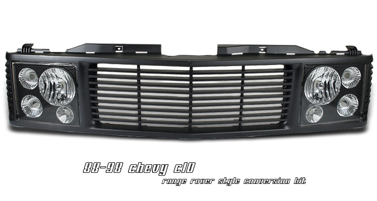 Chevrolet Silverado 1988-1998 Range Rover Style Grill/Headlight Conversion Kit  (Black/Black)
