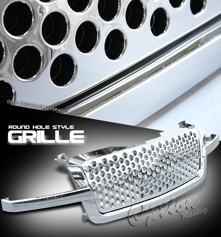 Chevrolet Silverado 2003-2005 1500 & 2500 HD Round Hole Style Chrome Front Grill