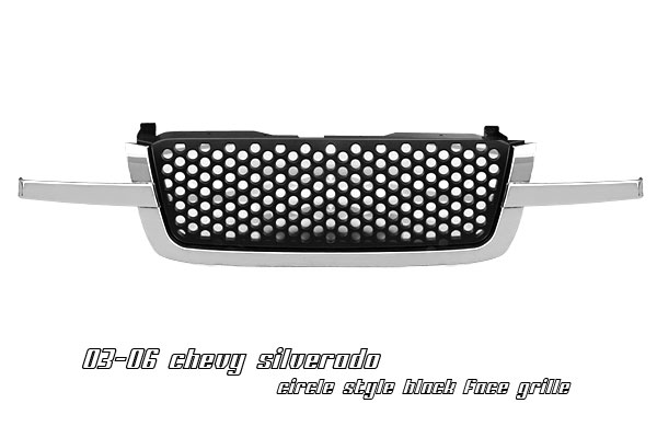 Chevrolet Silverado 2003-2005  Round Hole Style Black Front Grill