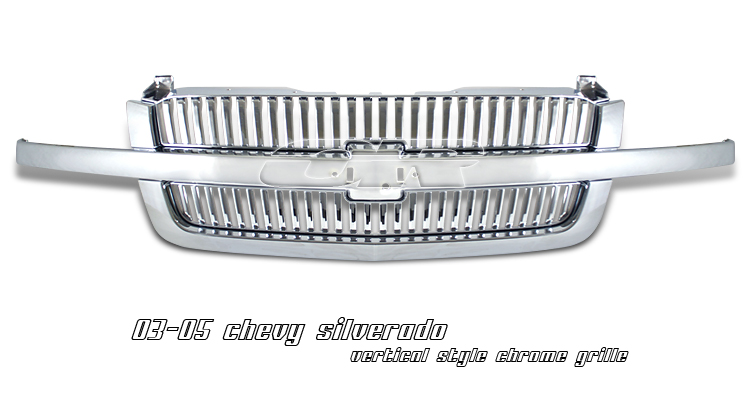 Chevrolet Silverado 2003-2005  Vertical Style Chrome Front Grill