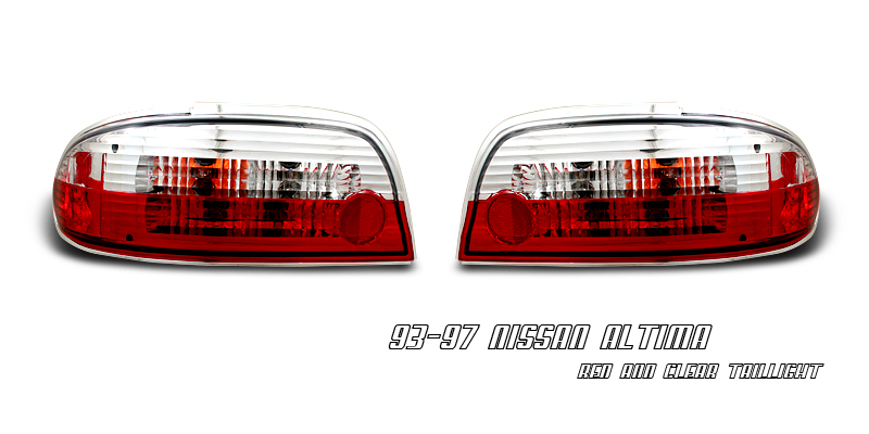Nissan Altima 1993-1997  Red / Clear Euro Tail Lights