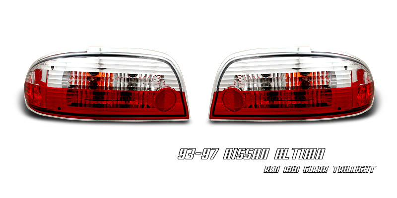 Nissan Altima 1993-1997 Red/Clear Tail Lights