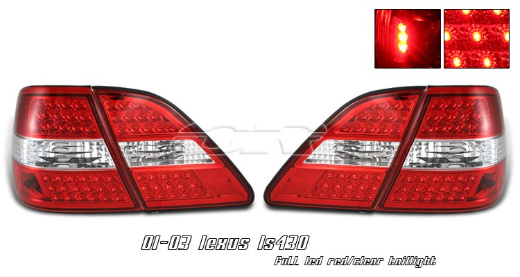 Lexus Ls430 2001-2003  Red/Clear (4pc) Led Tail Lights