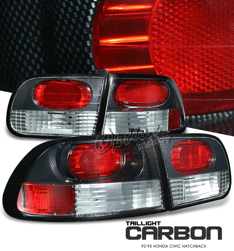 Honda Civic 1992-1995 Hatchback Carbon Fiber Euro Tail Lights
